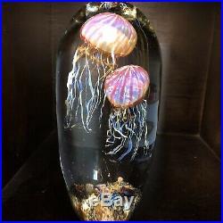 10 Satava Double Jellyfish Art Glass Paperweight