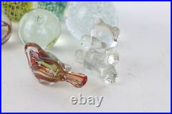 13pc Lot Blown Art Glass Paperweights Bear Bird Soccer Ball Controlled Bubble