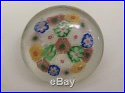 1939 Worlds Fair Chinese Art Glass Paperweight Button Millefiori Design