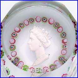 1953 Cristal St. Louis France Sulphide Paperweight Queen Elizabeth II Coronation
