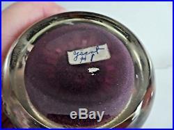 1960's PAUL YSART Glass Concentric Millefiori & Latticino Paperweight Purple