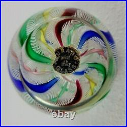 1960s Murano Glass Latticino Ribbon Millefiori Paperweight With Original Sticker