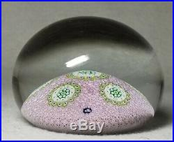 1972 ST LOUIS France Millefiori Roundel Design Paperweight on Pink Carpet Ground