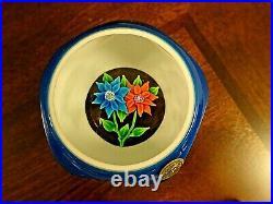 1975 ST. LOUIS Cristal Double Overlay Lampwork FLOWER Bouquet Facet Paperweight