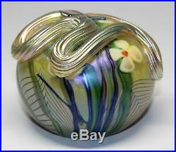 1977 Orient & Flume Snake & Flowers Pulled Feather Paperweight
