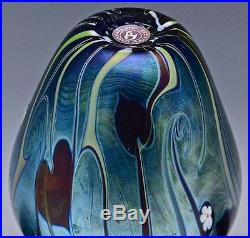 1978 ORIENT & FLUME IRIDESCENT BLUE AURENE PAPERWEIGHT FLOWERS ART GLASS VASE