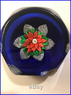 1980 Saint Louis Faceted Ltd ed Poinsettia Red Flower Paperweight SL1980