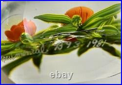 1981 Paul Stankard Experimental Glass Orange Floral Paperweight Signed 3 Dia