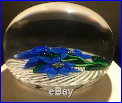 1982 Saint Louis France Blue Flower Trellis Paperweight Ltd Ed 8/150 with Cert