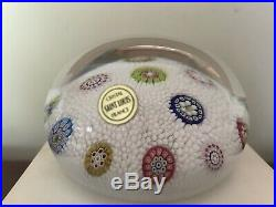 1982 Saint Louis France Scattered Millefiori Paperweight on White Carpet Ground