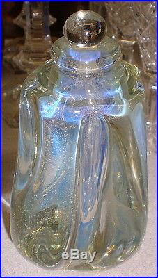 1983 Large Robert EICKHOLT Iridescent Art Glass Perfume Paperweight