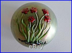 1983 Signed ZEPHYR Studios Art Glass Paperweight by SALAZAR Golden FLOWERS