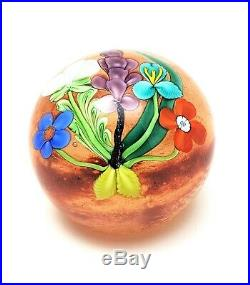 1984 Orient & Flume Lampworked Glass Floral Bouquet Paperweight Signed w Label