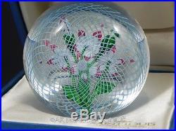 1985 St Louis France Art Glass PAPERWEIGHT FLOWER BOUQUET LATTICINO GROUND Box