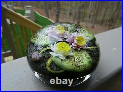 1987 PAUL STANKARD Art Glass Water Lily Apparitions of Pine Barren's Paperweight