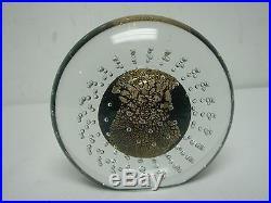1989 SIGNED EICKHOLT ART GLASS IRIDESCENT & GOLD GLOBE w BUBBLES PAPERWEIGHT