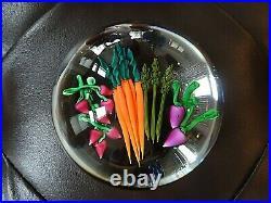 1991 Large Signed KEN ROSENFELD Studio Art Glass Vegetable Garden Paperweight