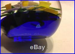 1992 Lundberg Studios, Steven Lundberg, Mixed Daffodil Art Glass Paperweight