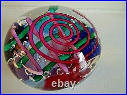 1992 Signed Bob KLISS Studio Art Glass Kliszewski PAPERWEIGHT Whimsical Cane