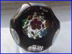 1993F Perthshire Black Overlay Floral Bouquet Paperweight LE COA #84/199 EC
