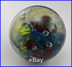 1995 Josh Simpson Inhabited Planet with Spaceship Glass Marble Paperweight Signed