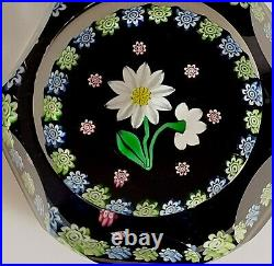 1995 Scottish Perthshire Flower Millefiori Canes Faceted Glass Paperweight P