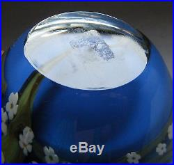 1998 Peter Raos New Zealand Night Jasmine Blue Green White Floral Paperweight