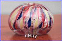 19th Century Art Glass Crown Paper weight 4 color Ribbon Blue Yellow, Red, White
