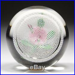 19thC St Louis French Studio Art Glass Pink Pompon Latticino Antique Paperweight