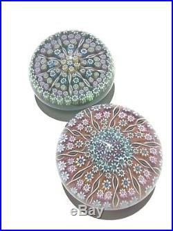2 Perthshire Paperweight Millefiori, Cartwheel, Twisted Spokes