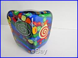 2004 Signed MAD ART Studio Glass DICHROIC MAGNUM Paperweight Square Sculpture
