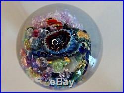 2005 Signed Josh SIMPSON Inhabited Planet SATELLITE Studio Art Glass Paperweight