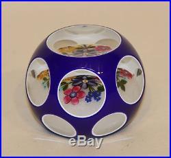2007 Peter McDougall Blue Art Glass Double Overlay Bouquet Paperweight 25/35