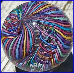 2008 James Alloway Paperweight! Awesome 2 Swirling Pastel Cane Ribbons