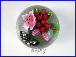 2010 COLIN RICHARDSON Art Glass PAPERWEIGHT-Flower/Berries/Butterflies
