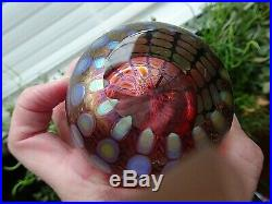 2012 Signed Tom PHILABAUM Studio Art Glass Ruby REPTILIAN PAPERWEIGHT Faceted