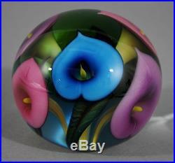 2013 Authentic LOTTON STUDIOS Scott Bayless CALLA LILY Art Glass Paperweight
