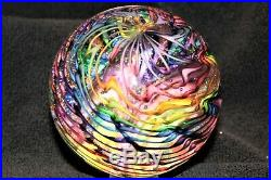 3.0 Diameter Colorful Rainbow Swirl Art Glass Paperweight from James Alloway