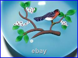 3.25 Limited Edition Baccarat Art Glass Paperweight Bird on Branch Lampwork 877