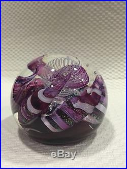 3 5/8 Purple Swirling Anemone Tentacles Dichroic Signed Art Glass Paperweight