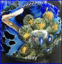 3 HEADY BORO GLASS 2005 JOSH SIMPSON INHABITED PLANET MARBLE PAPERWEIGHT With UFO