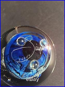 3 Josh Simpson Signed Inhabited Planet Art Glass Paperweight