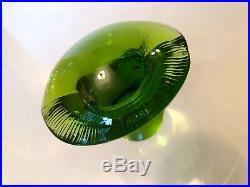 3 Viking Art Glass Paperweight Mushroom Medium Small Avocado Persimmon Bluenique