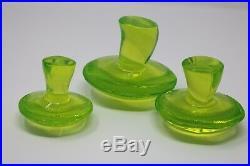 3 Viking Vaseline Uranium Glass Mushroom Toadstool Morel Set