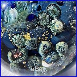 3Josh Simpson Inhabited Planet Art Glass Paperweight