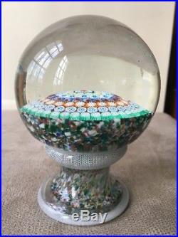 5 Murano Piedouche Art Glass Paperweight 6 Row Concentric Millefiori Pedestal