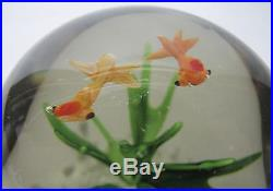 6 Vintage Controlled Bubble Emerald Fish/Bird Studio Art Glass Paperweights! Yqz