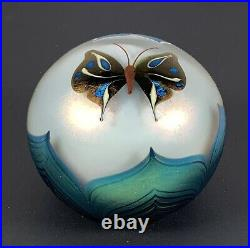 77 Orient & Flume Paperweight Pulled Flower & Butterfly Over Transparent I28