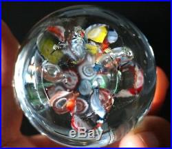 A Beautiful Vintage Art Glass Paperweight With Millefiori Slices And Bubbles