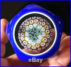 A Beautiful Vintage Murano Glass Multifaceted Paperweight With Millefiori